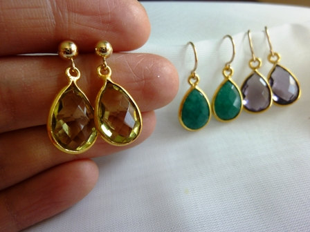 Emerald Green Onyx Gold Dangle Earrings Purple Amythest Quartz Peridot Stud Teardrop Gemstone