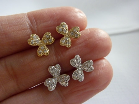 Clover Stud Earrings Studs Diamond Cz Tiny Flower Gold Silver